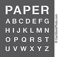 Texto de alfabeto de papel