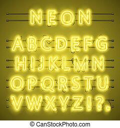 Texto de Neon font City, alfabeto amarillo nocturno, ilustración vectorial