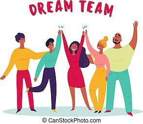 Texto del equipo de ensueño. Grupo de jóvenes, trabajo en equipo.