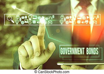 texto, deuda, seguridad, issued, escritura, spending., significado, gobierno, bonds., apoyo, concepto