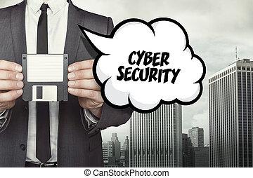 texto, disquete, cyber, discurso, tenencia, hombre de negocios, seguridad, burbuja