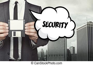 texto, disquete, discurso, tenencia, hombre de negocios, seguridad, burbuja