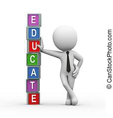 texto, educar, colorido, 3d
