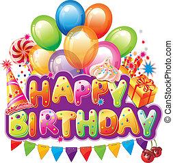 texto, feliz cumpleaños, fiesta, elemento