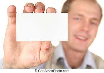 texto, tarjeta, hombre