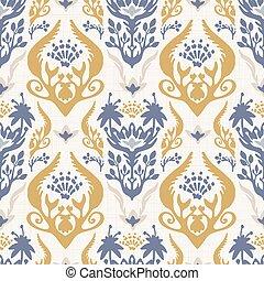 textura, decoración, mano, dibujado, francés, seamless, blanco, clásico, todos, encima, azul, amarillo, pattern., hogar, papel pintado, elegancia, vector, swatch., antigüedad, damasco, andrajoso, impresión, estilo, fondo., floral, interior, barroco, prospere