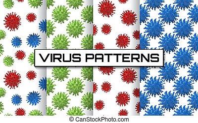 textura, papeles pintados, conjunto, patterns., coronavirus, influenza, covid-19, bacterias, gripe, bacteriums, células, azulejos, virus, plano de fondo, seamless