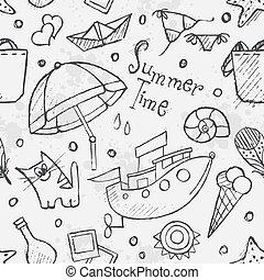 Textura sin costura del vector de verano mano dibujado garabatos. Cont negro