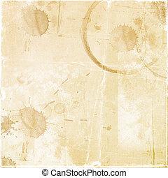 Textura - una hoja del viejo papel con gotas de café