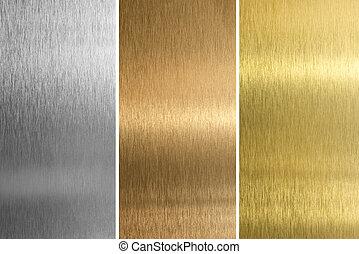 texturas, cosido, latón, bronce, aluminio