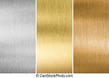 Texturas de metal de oro, plata y bronce