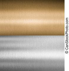 Texturas de plata y metal de bronce