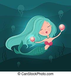 textures., plano, vector, sirena, estilo, ilustración, perla, caricatura, lindo