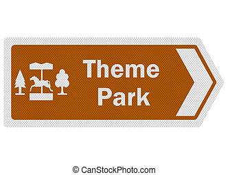 'theme, información, photo-realistic, turista, señal, series:, park'