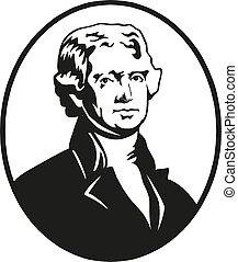 Thomas Jefferson, presidente de los Estados Unidos. Ilustración de vectores.