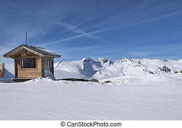thuile, montaña, invierno, recurso, esquí, la, vista.