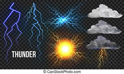 Thunder, Lightnigs set. Bolt, el cielo nocturno mágico y brillante efecto brillante. Bola de fuego, lluvia, nublada. Mal rayo del tiempo. Una tormenta eléctrica peligrosa. Ilustración aislada realista