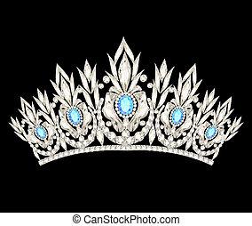 Tiara corona la boda de las mujeres con piedras azules