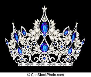 Tiara corona la boda de las mujeres con una piedra azul