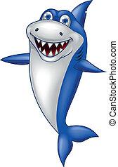 tiburón, caricatura, feliz