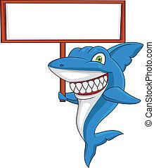Tiburón con signo en blanco