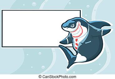 Tiburón de cartón con copia