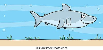 Tiburón de dibujos bajo el agua