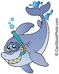 tiburón, esnórquel, buzo
