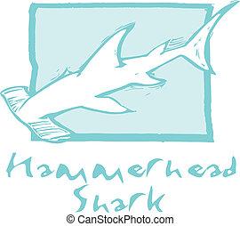tiburón martillo en azul