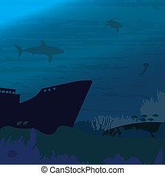tiburón, pez, mundo, océano, submarino