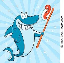 Tiburón sonriente sosteniendo un cepillo de dientes