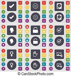 Tick, Smile, hard drive, siluette, lock, tick, venus simbolo, mano, símbolo de imagen. Un gran conjunto de botones planos y de colores para su diseño. Vector