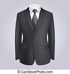 tie., oscuridad, vector, traje, macho, ropa