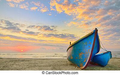 tiempo, barcos, salida del sol