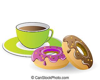 tiempo, café de té, rosquillas