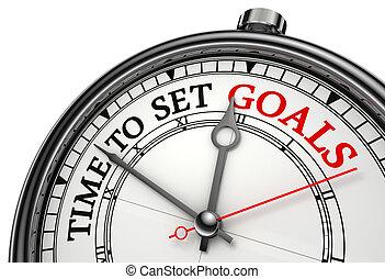 tiempo, concepto, conjunto, metas, reloj