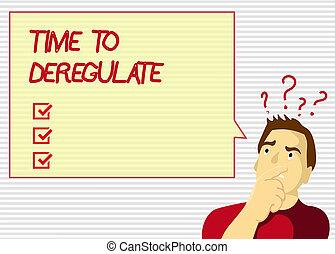 Tiempo de escribir texto para desregular. Concepto que significa que el gobierno remueve las normas en los servicios de salud