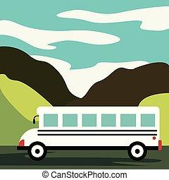 Tiempo de viajar. El bus amarillo vector plano va por la autopista en el desierto. Montañas, carreteras y nubes paisaje. La plantilla del concepto Banner