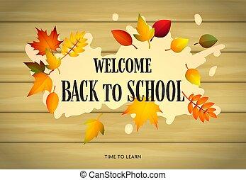 tiempo, espalda, hojas, aprender, letras, escuela, bienvenida