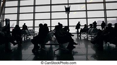 tiempo, largo, aburrido, esperar-cuarto, aeropuerto
