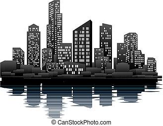 tiempo, noche, ciudad