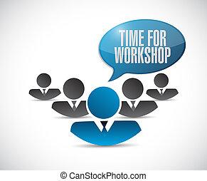 Tiempo para el taller de trabajo en equipo concepto de signo