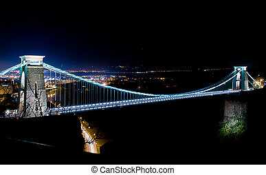tiempo, suspensión, noche, clifton, tiro, mundo, famoso, bridge.