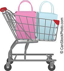 tienda, bolsas, compras, grande, carrito, ir, venta al por menor