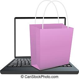 tienda, compras, computador portatil, en línea, bolsa, teclado