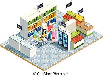 tienda, conveniente, composición, familia