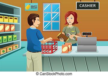 tienda de comestibles, cajero, tienda, trabajando