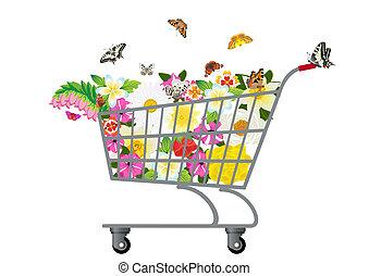 tienda de comestibles, flores, carrito