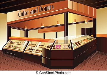 Tienda de comestibles: pastel y donas