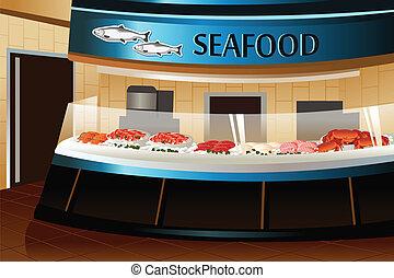 Tienda de comestibles: sección de mariscos
